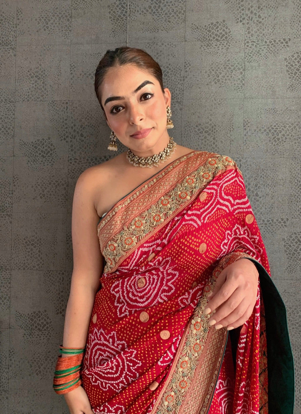 Stunning Red Bandhani saree (GH 59)