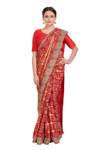 Timeless Red woven Gharchola saree (GH-33)