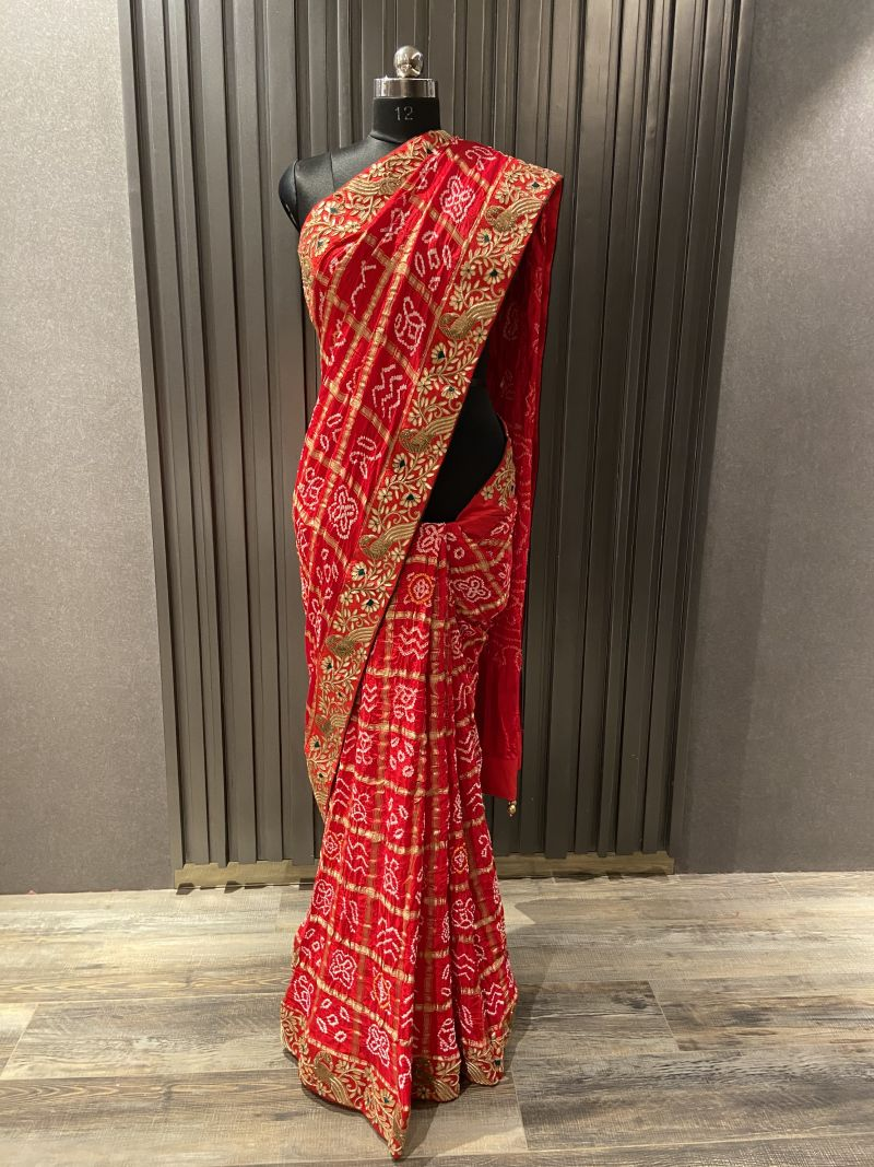 Red gajji gharchola saree (3938)