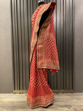 Red Bandhani Saree (4591)