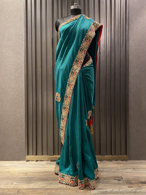 Teal Blue Silk Saree (5520)
