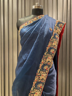 Navy Blue Organza Satin Silk Saree (5930)