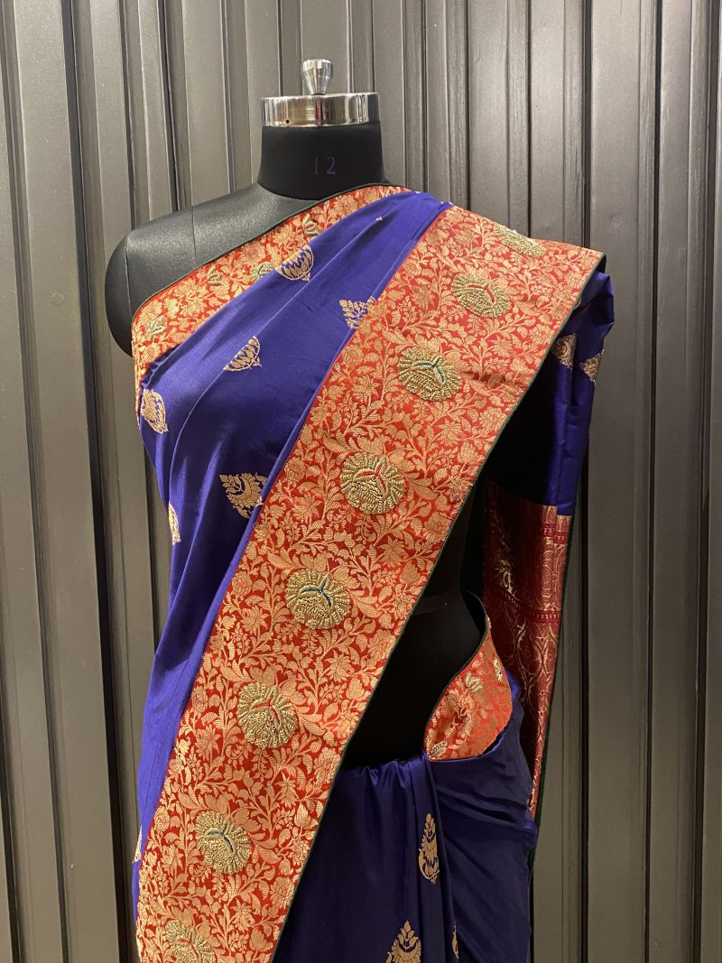 Blue orange saree (SS 298)