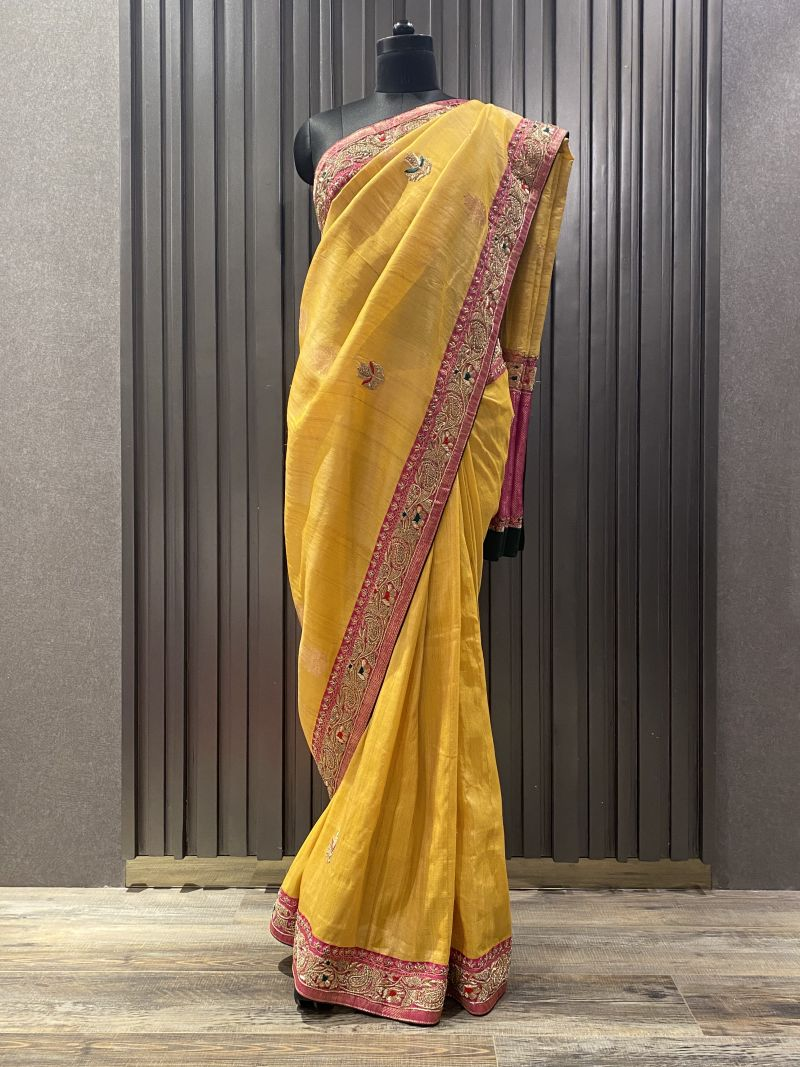 yellow pink saree (SS 298)
