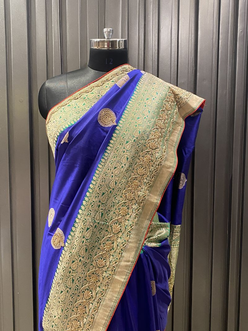 Blue Green benarsi silk( SS 298)