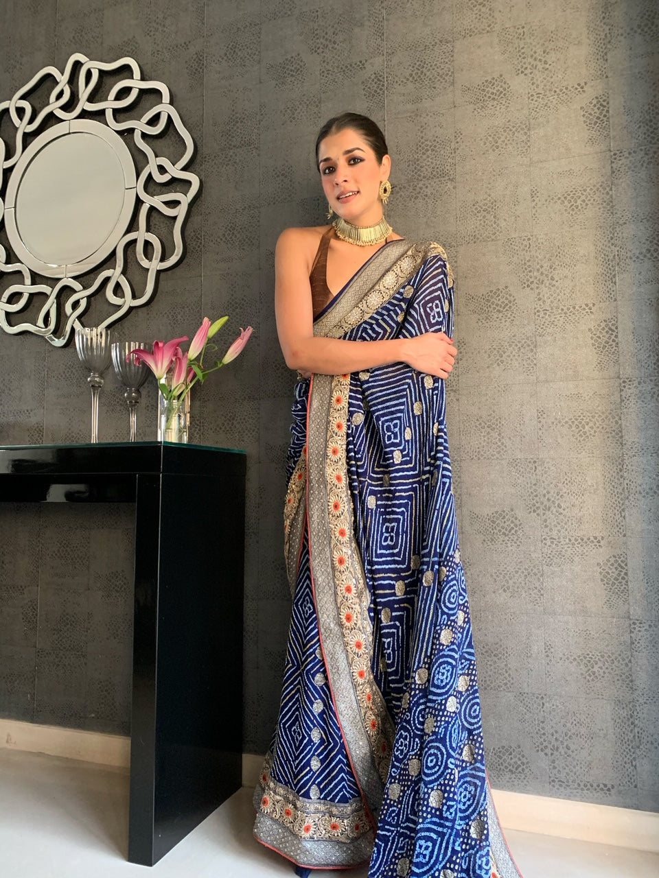 Blue Bandej Saree ( GH 57)