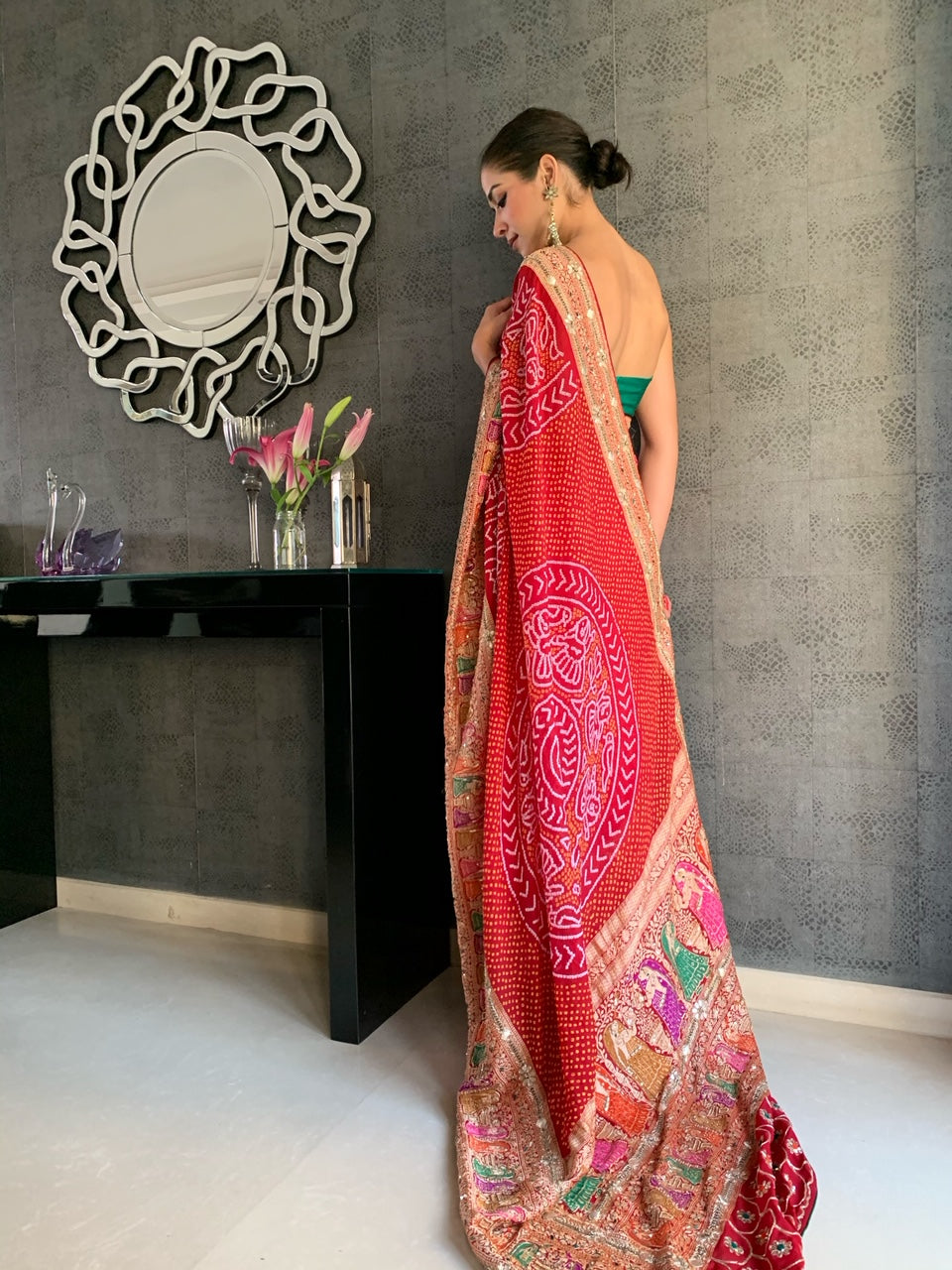 Red Bandhani saree GH 53