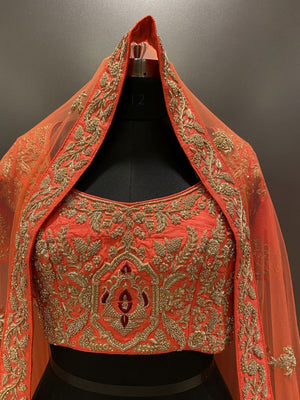 Hand embroidered Orange Bridal Lehenga (LG-9)