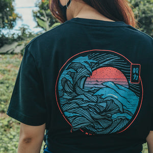 The Great Wave MMXX Black Cotton Tee