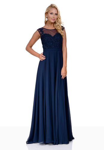 Pretty Navy blue prom and evening dress. Floaty chiffon skirt with sheer neckline.