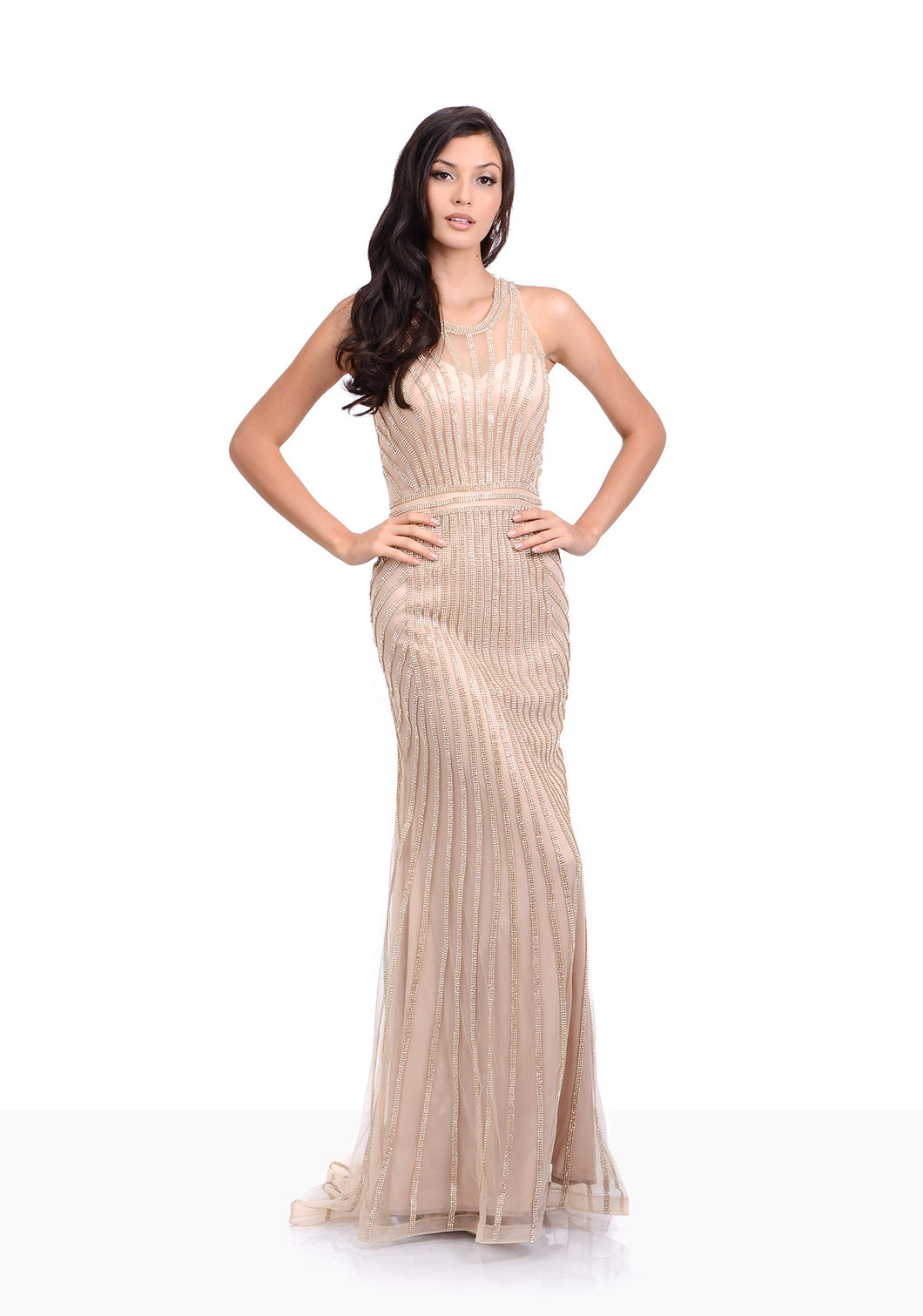 Gold high neckline embellished evening dress. Fitted evening dress perfect prom dress or an event