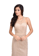 Load image into Gallery viewer, Gold high neckline embellished evening dress. Fitted evening dress perfect prom dress or an event