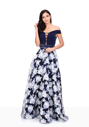 Floral navy A-line dress with embellished glitter belt. Off the shoulder navy neckline. Unique and stylish prom and evening dress.