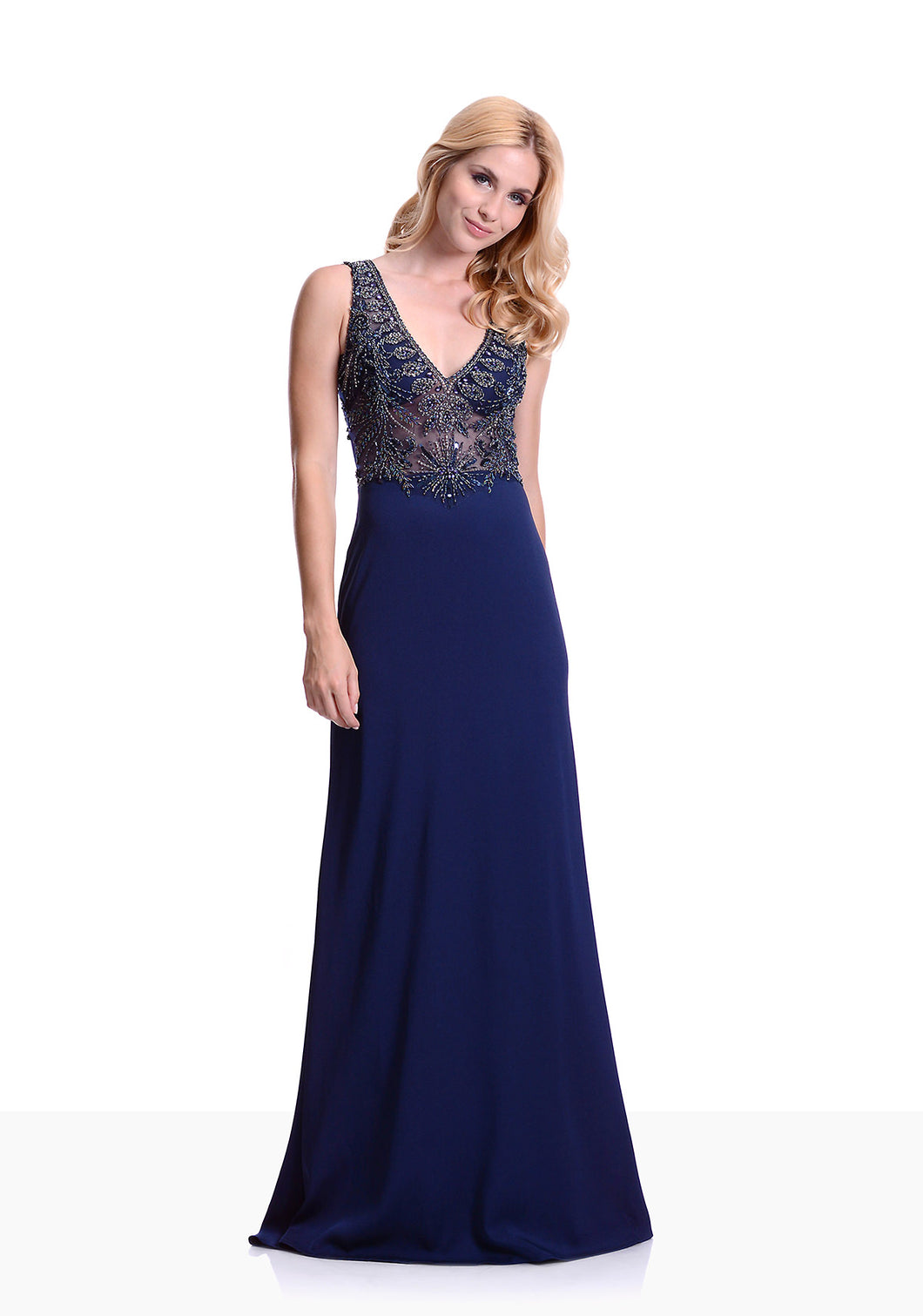 Elegant evening dress with embellished beaded bodice. V neckline design with sheer illusion bodice. Super pretty Navy fitted evening and prom dress.
