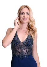 Load image into Gallery viewer, Elegant evening dress with embellished beaded bodice. V neckline design with sheer illusion bodice. Super pretty Navy fitted evening and prom dress.