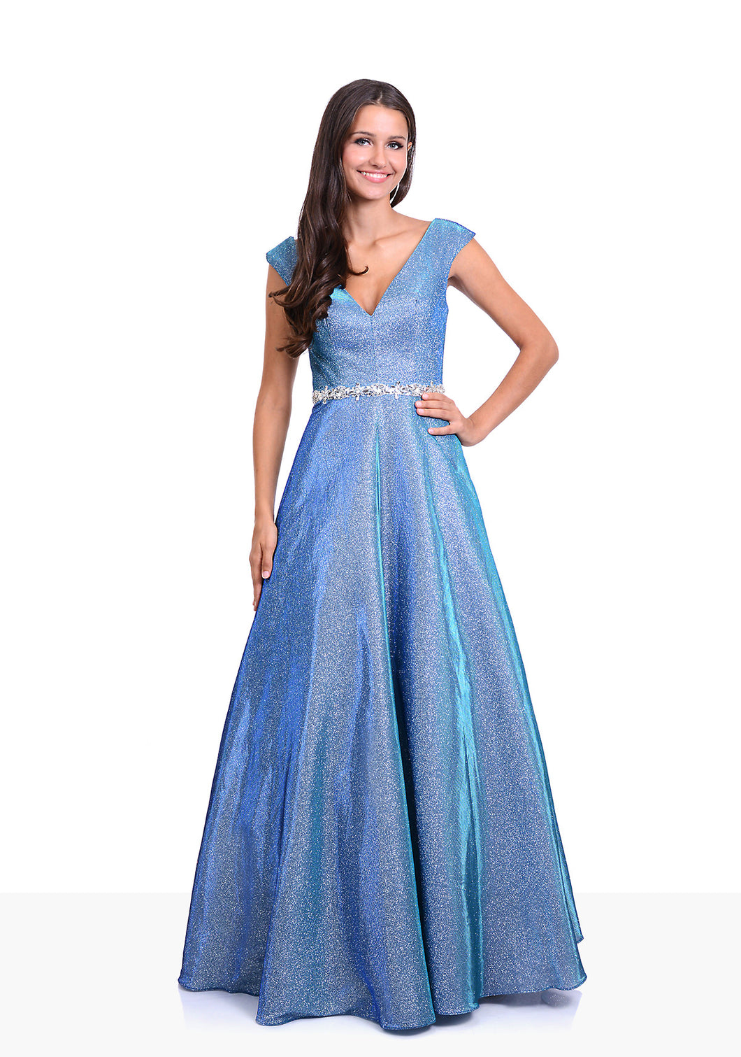 Glitter blue ball gown with diamante waist band. Full skirt glitter dress perfect for prom or an evening gown.