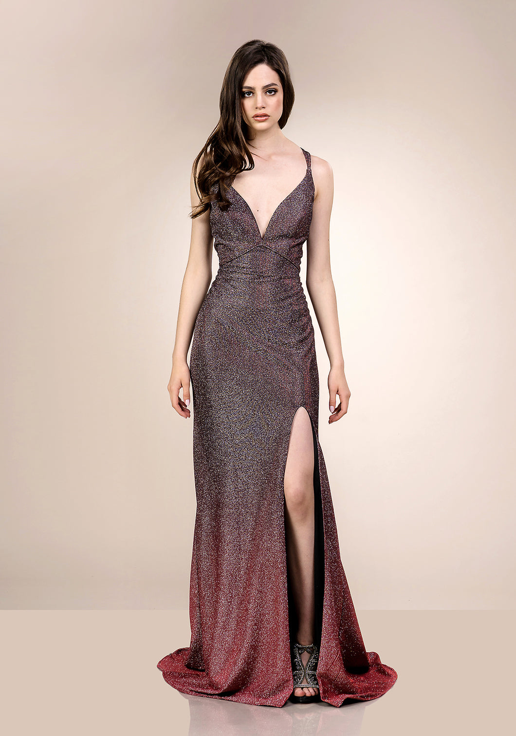 Glitter Fitted Evening Dress