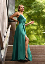 Load image into Gallery viewer, Plain silk green prom dress. Detailed cross over back. Emerald green prom and evening dress with leg slit.