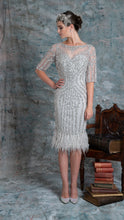 Load image into Gallery viewer, Silver embellished mother of the bride dress