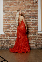 Load image into Gallery viewer, red floral prom dress