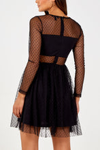 Load image into Gallery viewer, Black Dotty Short Mesh Dress