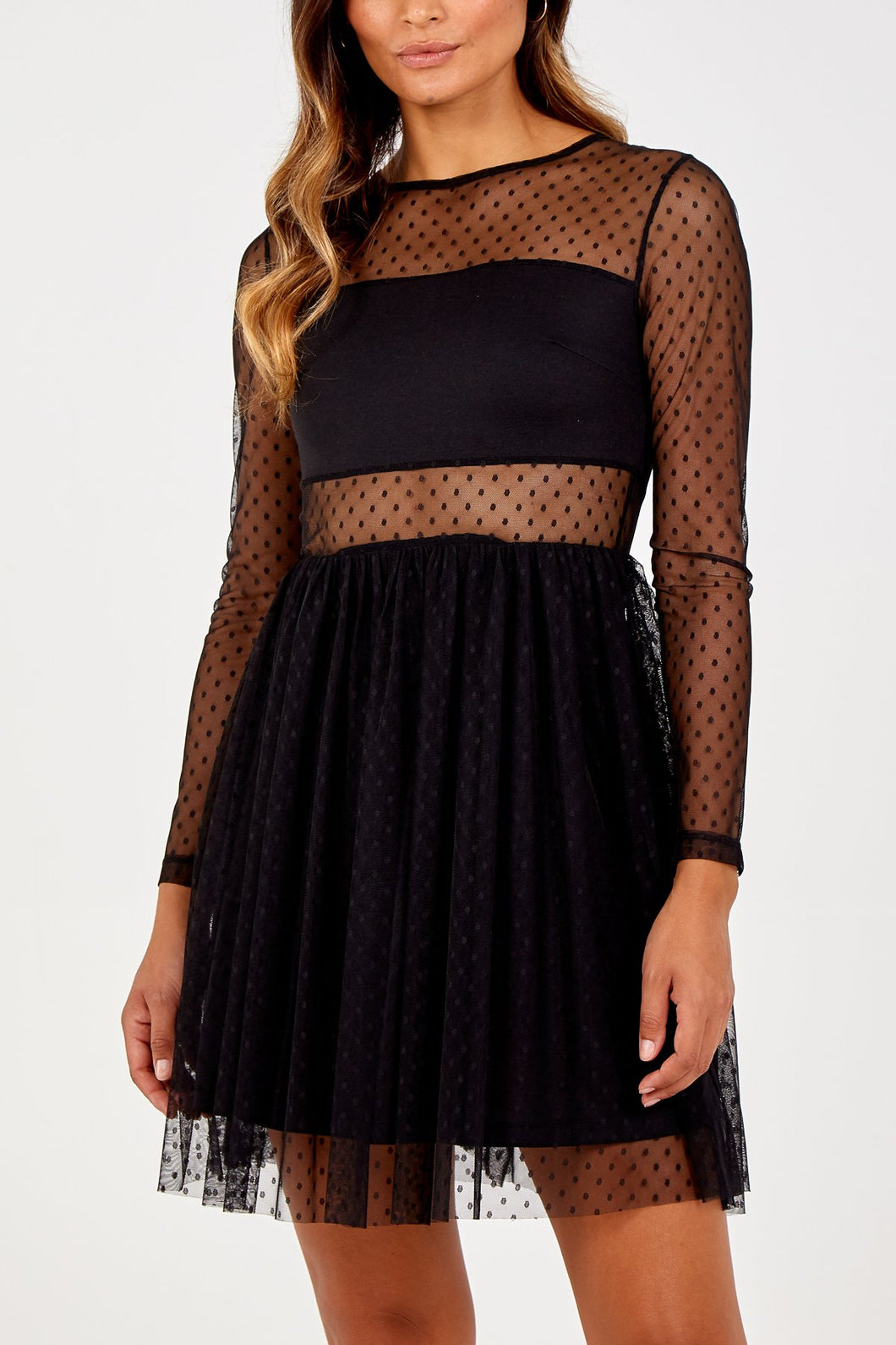 Black Dotty Short Mesh Dress