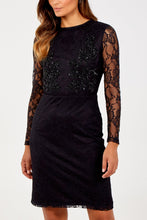 Load image into Gallery viewer, Black Sparkly Lace Dress