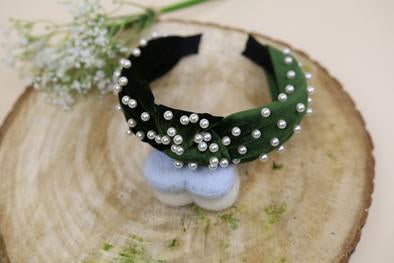 Green Olive Pearl Twist Headband