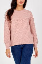 Load image into Gallery viewer, Chunky Winter Knit Pink Pom Jumper