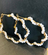 Load image into Gallery viewer, Pearl Large Hoop Earrings