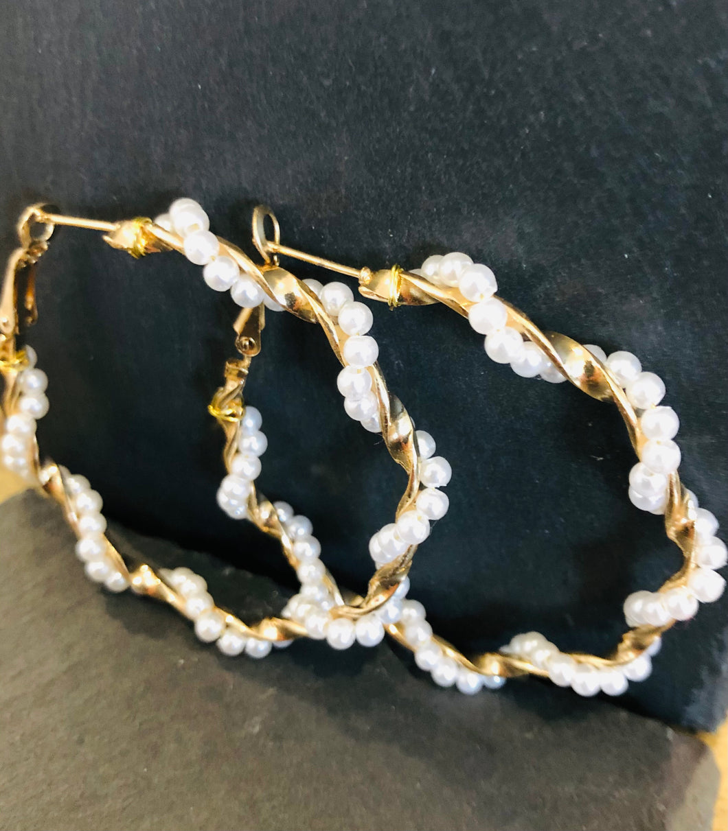 Pearl Large Hoop Earrings