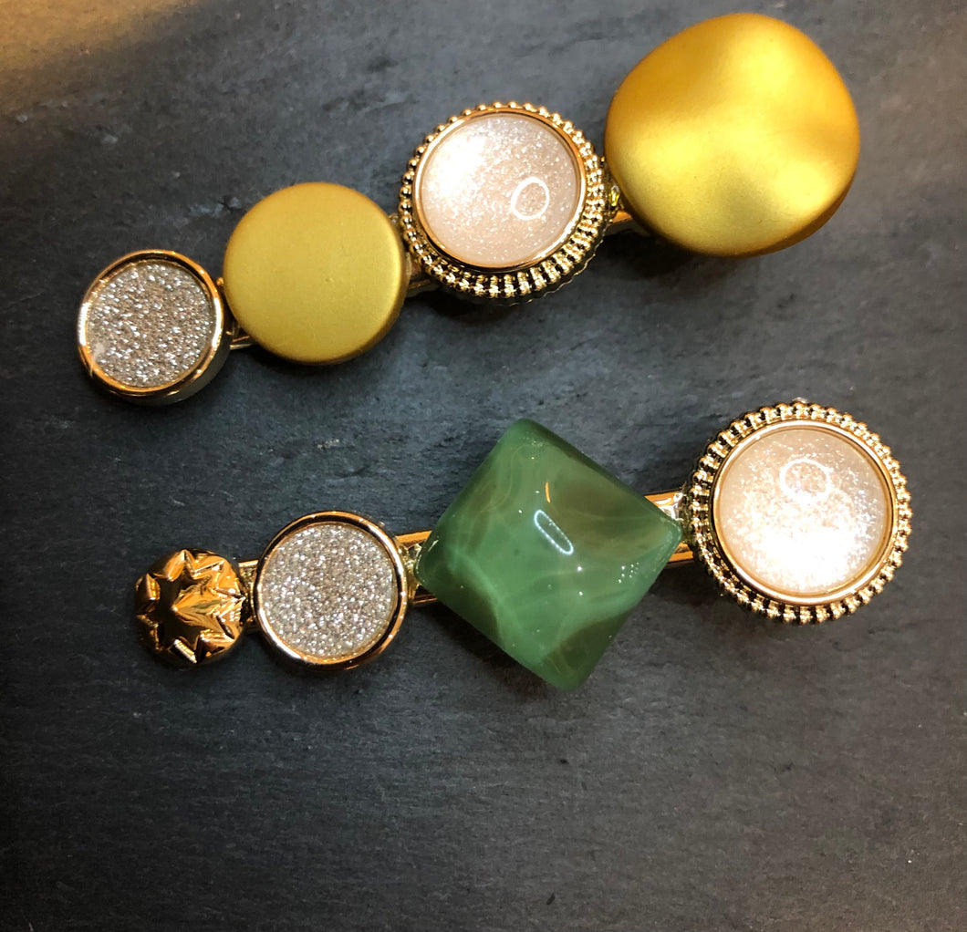 Sparkle Mustard & Green Duo Clips