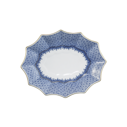Blue Lace Fluted Tray by Mottahedeh