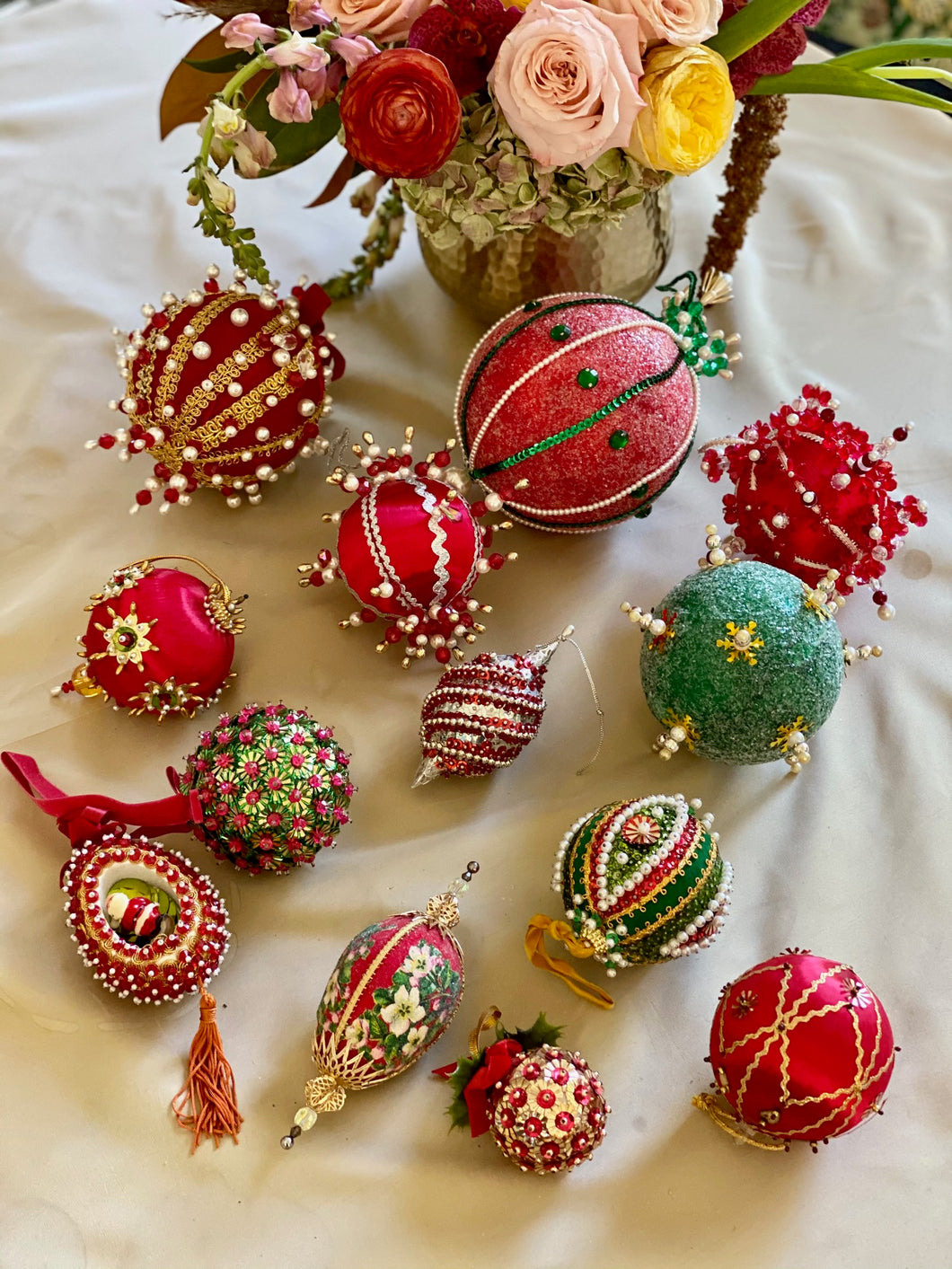 Collection of Vintage Push Pin Ornaments - Classically Christmas Red and Green