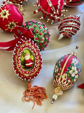 Load image into Gallery viewer, Collection of Vintage Push Pin Ornaments - Classically Christmas Red and Green