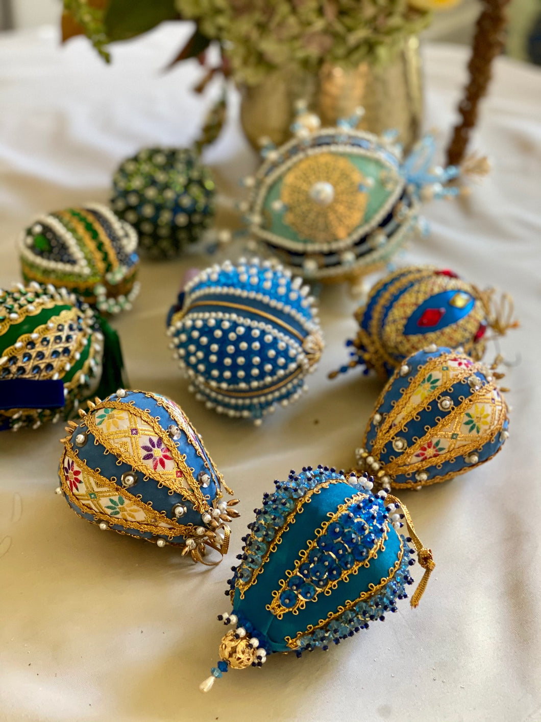 Collection of 9 Vintage Push Pin Ornaments - Blue and Gold
