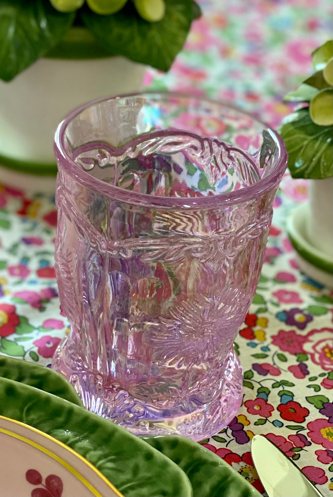 Pink Dahlia Tumbers by Mosser Glass - Set of 8
