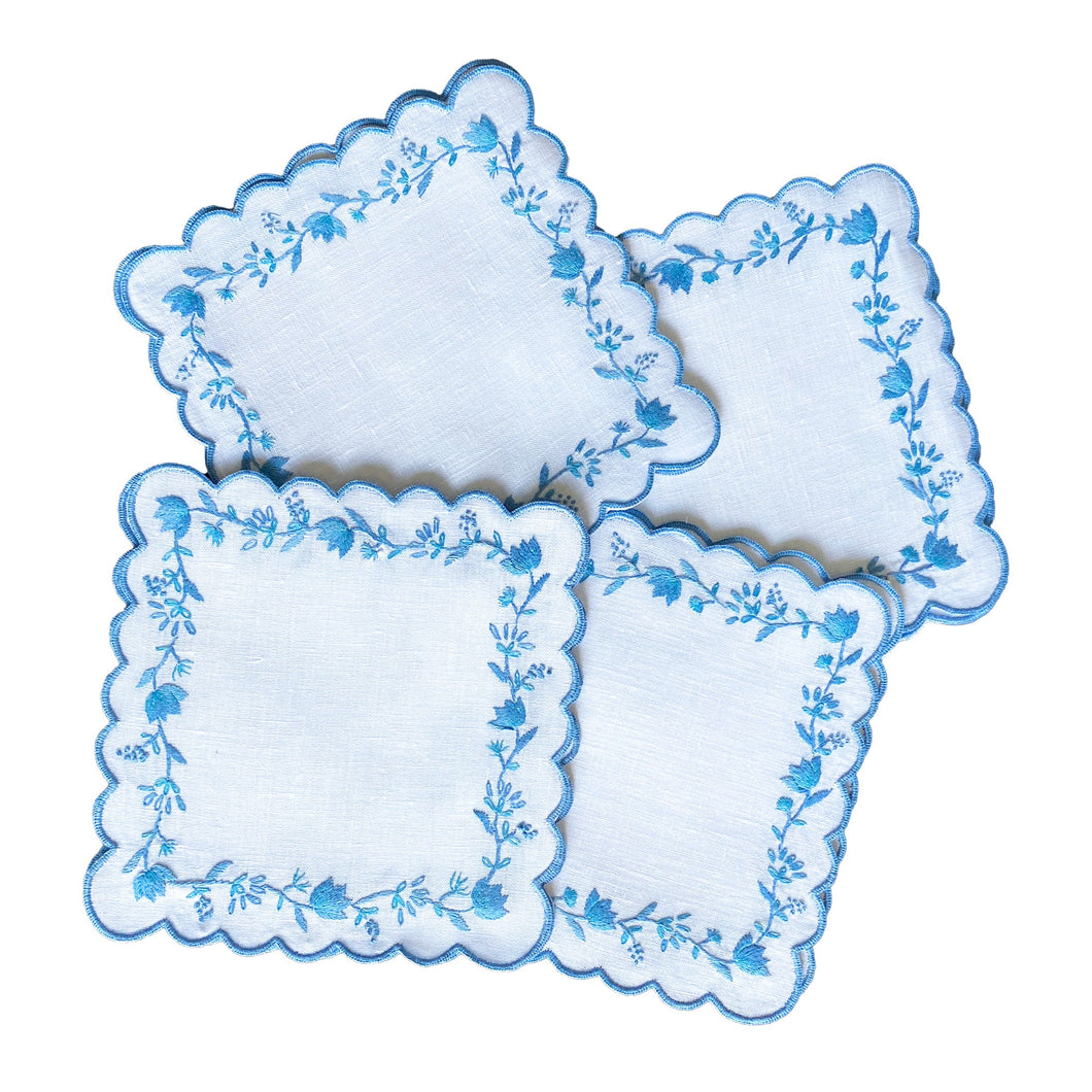 Blue and White Floral Cocktail Napkins - Set of 4 by Lettermade