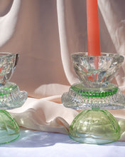 Load image into Gallery viewer, Set of Two Reversible Uranium Green Candlesticks By Opaline Atelier