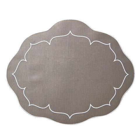 Oval Scalloped Placemats with Coating set of 2