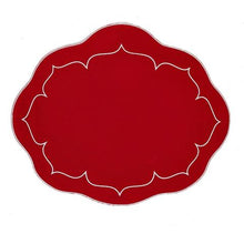 Load image into Gallery viewer, Oval Scalloped Placemats with Coating set of 2