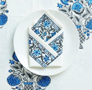 Kaia Block Print Napkins by Amanda Lindroth - Set of 4