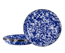 Load image into Gallery viewer, Cobalt Splatterware Enamel Pasta Bowls - Set of 4