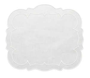 Scalloped Linen Placemats with Coating - Set of 2
