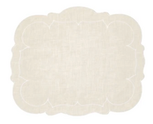 Load image into Gallery viewer, Scalloped Linen Placemats with Coating - Set of 2