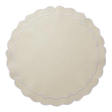 Load image into Gallery viewer, Round Scalloped Linen Placemats with Coating - Set of 2