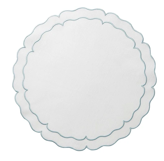 Round Scalloped Linen Placemats with Coating - Set of 2