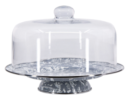 Spatterware Enamel Cake Stand and Dome