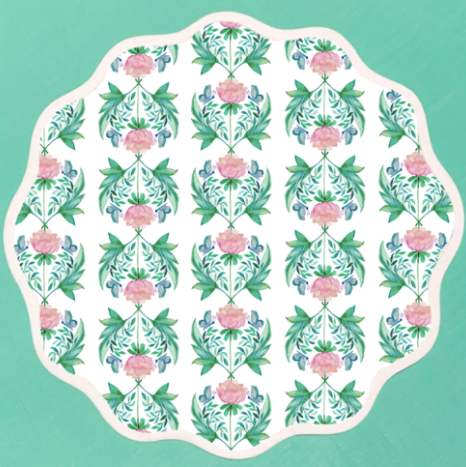 Garden Rose Scalloped Placemat by Fenwick Fields