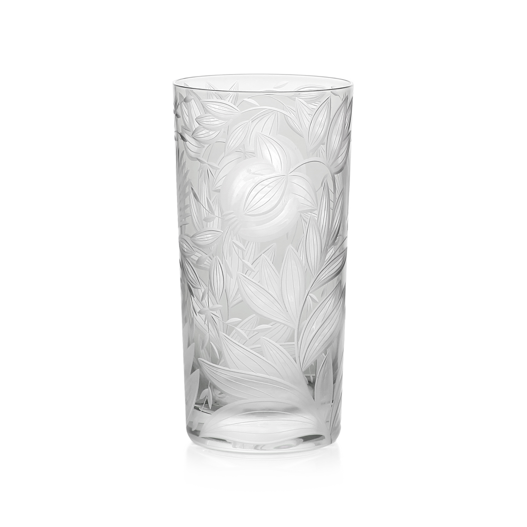 Verdure Etched Floral Highball Glass